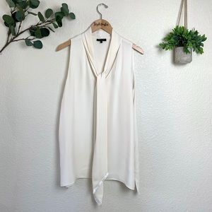 Lafayette 148 Silk Tie Front Sleeveless Blouse